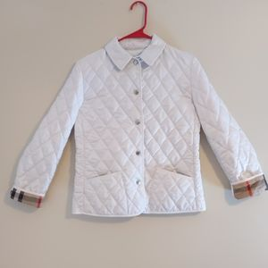14Y Burberry white quilted jacket
